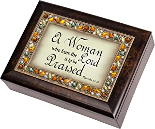 Cottage Garden A Woman Who Fears The Lord is to be Praised Proverbs 31:30 Italian Style Burlwood Finish Decorative Jewel Lid Musical Music Jewelry Box Plays Amazing Grace