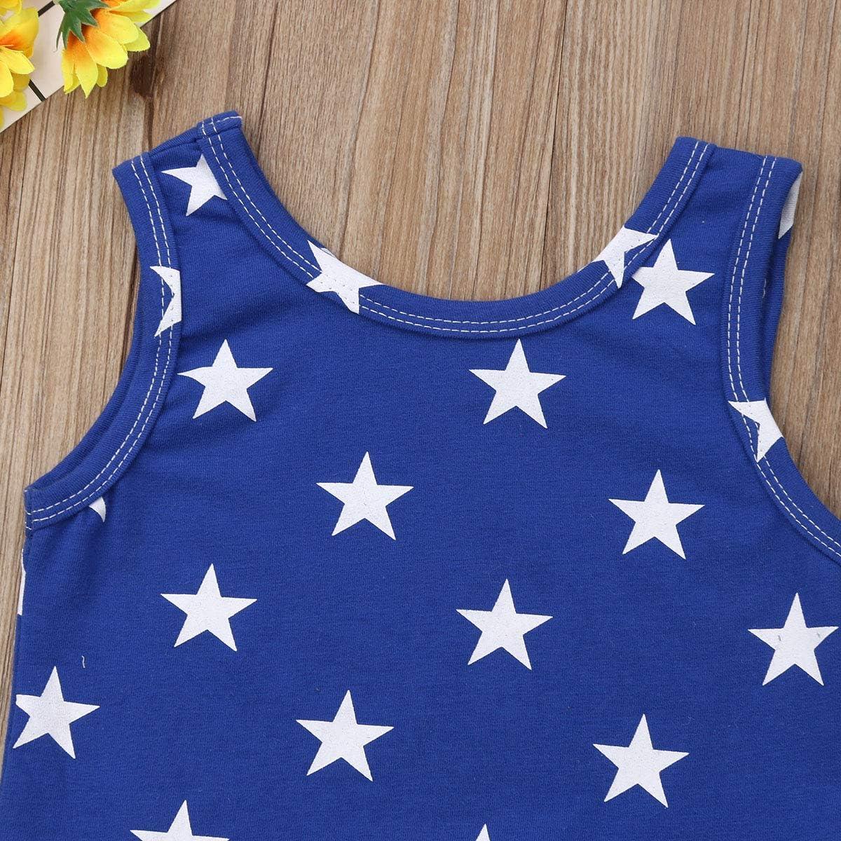 2Pcs//Set Independence Day Infant Toddler Baby Boys Girls Sleeveless Top+Stripes Pompon Shorts