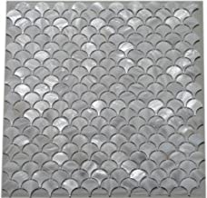 11PCS White Fish Scale Freshwater Shell Mosaic Tile Mother of Pearl Kitchen Backspalsh Tile Bathroom Tile Shower Wall Tiles TV Background Tile Home Improvement Fan Pattern