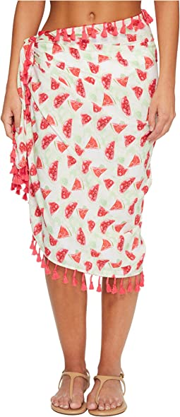 San Diego Hat Company BSS1807 Woven Watermelon Print Sarong Cover-Up