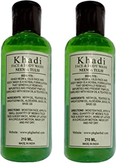 Khadi Neem & Tulsi Face & Body Wash, 210ml (Pack of 2) by Parvati Gramodyog Herbal Products - Made in India