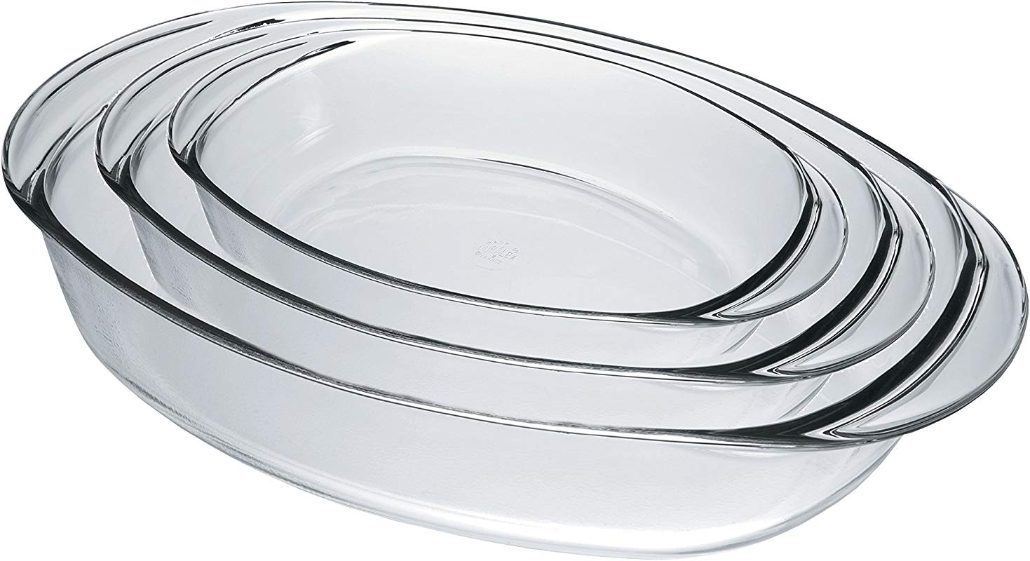 Duralex 9058AS03 Oven Chef Glass Oval Baking Dishes Roasters Set Of 3