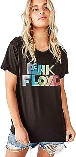 Cotton On Women's Graphic T-Shirt, Lcn Per Pink Floyd Rainbow Glitter/Washed Black