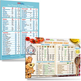 Cool Kitchen Gifts Set: Must-Have Air Fryer Cooking Times (76 Foods) + Kitchen Conversion Chart Magnets (8