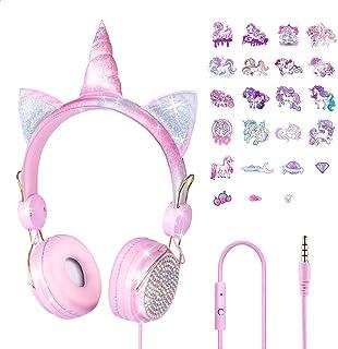 Auriculares para niños con micrófono, unicornio en línea de aprendizaje con límite de volumen de 85 dB, sonido estéreo, conector de audio de 3,5 mm para smartphone, tablet, Kindle, PC, escuela, viaje, (rosa)