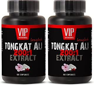 Longjack 200 : 1 - Tongkat Ali 400mg Premium Extract - Natural Testosterone Booster (2 Bottles 120 Capsules)