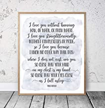 I Love You Without Knowing Pablo Neruda 100 Love Sonnets Wedding Quotes Love Poem Print Romantic Quote Love Poetry Wood Pallet Design Wall Art Sign Plaque with Frame Wooden Sign