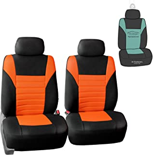 FH Group FB068102 Premium 3D Air Mesh Seat Covers Pair Set (Airbag Compatible) w. Gift, Orange/Black Color- Fit Most Car, Truck, SUV, or Van