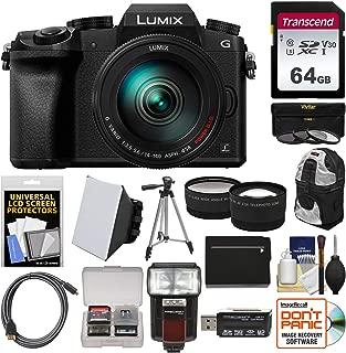 Panasonic Lumix DMC-G7 4K Wi-Fi Digital Camera & 14-140mm Lens with 64GB Card + Case + Flash + Battery + Tripod + Tele/Wide Lens Kit