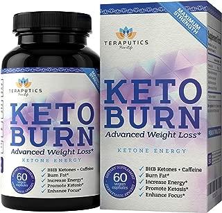 Teraputics Keto Diet Pills with BHB: 800 Mg Keto Burn Advanced Weight Loss Supplements for Men and Women - Vegan Ketosis Fat Burner Supplement to Slim Down, Boost Energy, Enhance Focus - 60 Capsules