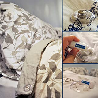 PinionPins Magnetic Duvet Clips and Comforter Clips - Stronger Than Traditional Bedding Pins - Use as Duvet Donuts, Comforter Fasteners, Curtain or Drape Pins, or to Secure Upholstery! 16 pins - Clear