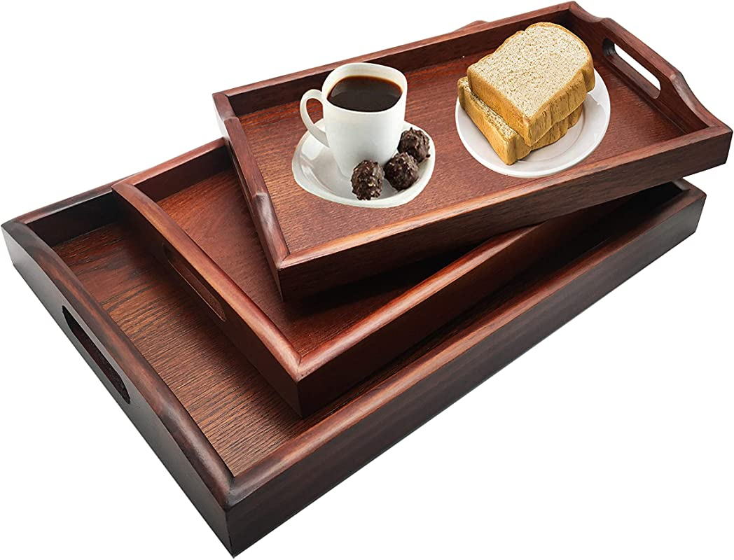 Reliancer Set Of 3 Large Wooden Serving Trays W Handles Nesting Breakfast Serving Trays Decorative Rectangular Wood Display Tray Set Nested Food Tray Butler Serving Tray For Kitchen Party Dinner