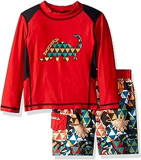 Skechers Boys Swimsuit Bathing Suit Set with Long Sleeve Swim Shirt Rash Guard Set