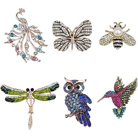 TsunNee Broches de cristal con forma de animal, insignia de disfraz, mariposa de libélula colibrí búho pavo real, broche de ropa para mujeres y niñas, regalos de fiesta, 6 piezas