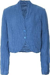 Grizas Women's Cropped Linen Jacket Blue
