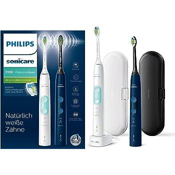 Philips Sonicare ProtectiveClean 5100 elektrische Zahnbürste HX6851/34 Doppelpack – 2 Schallzahnbürsten mit 3 Putzprogrammen, Andruckkontrolle, Reiseetuis – Weiß/Blau