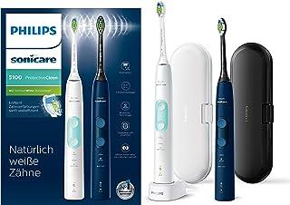 Philips 飞利浦 Sonicare ProtectiveClean 5100电动牙刷HX6851/34两只装,2个带3个清洁程序的隔音刷,按键控制,旅行充电盒 白色/蓝色
