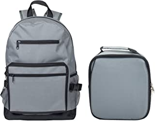 Reinforced Water Resistant School Backpack and Insulated Lunch Bag Set (1, Stone Grey)