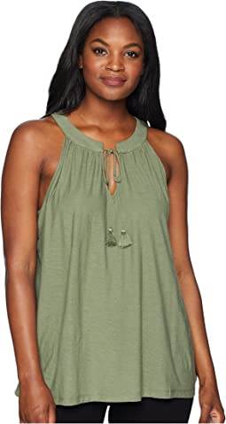 Sleeveless Tassel Tie Neck Halter Top