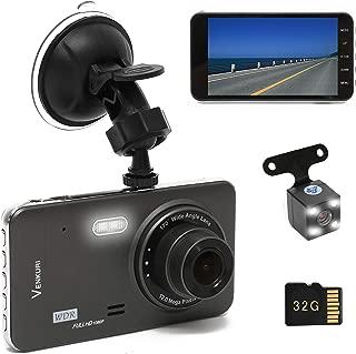 VENKURI ドライブレコーダー 前後カメラ 32GB SDカード付き 1080PフルHD 170°広視野角 G-sensor WDR 上書き録画 Gセンサー 動作検知 衝撃録画 駐車監視 日本語説明書付き