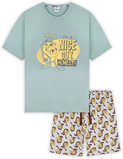 Looney Tunes Space Jam Mens Pyjamas, Taz Short PJs, Loungewear Set For Men