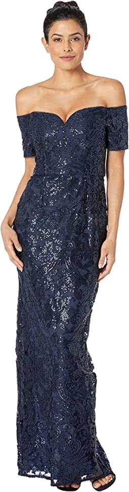 Off Shoulder All Over Sequin Embroidery Column Gown