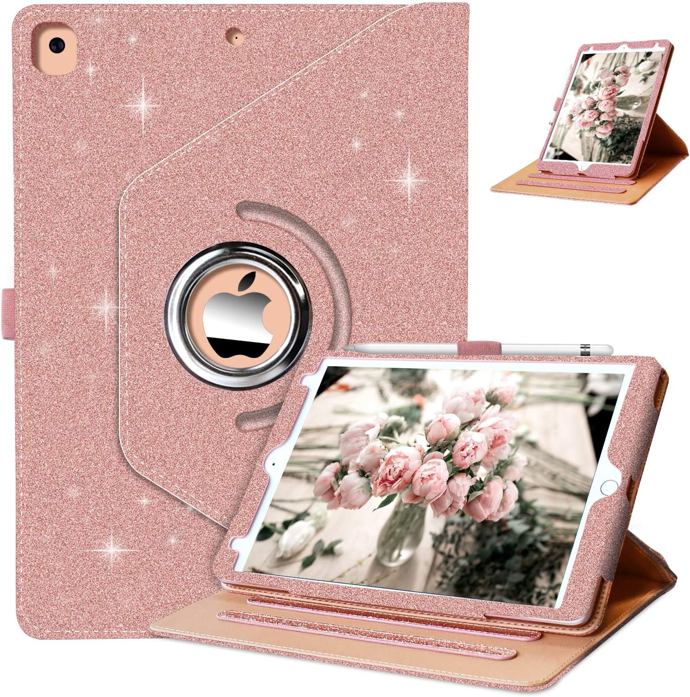 Grifobes iPad 8th/7th Generation Case,iPad 10.2 case,360 Degree Rotating Stand PU Leather Protective Cover,Glitter Sparkly Case for Girls Women ,Auto Wake/Sleep(Rose Gold)