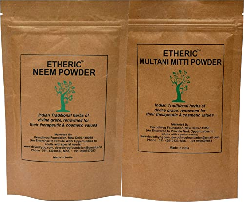 Etheric Neem Multani Mitti Powder pack for Pimples Acne Oily Skin 2X100 gm