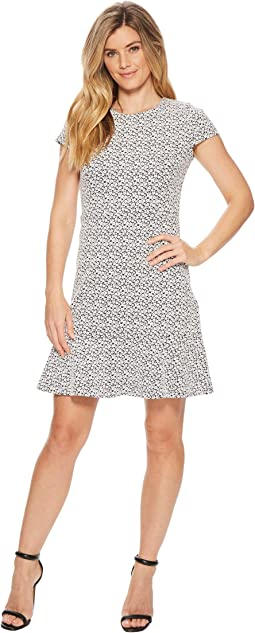 MICHAEL Michael Kors - Jacquard Knit Short Sleeve Flounce Dress