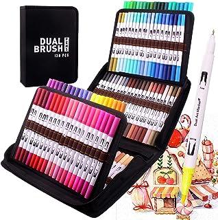 120 stylos de coloriage à double pointe fine et pinceau pour aquarelle, feutres à pointe fine, marqueurs à base d'eau, sur...