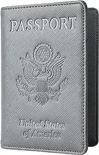 Toughergun Leather Passport Holder Wallet Cover Case RFID Blocking Travel Wallet (crosshatch gray)