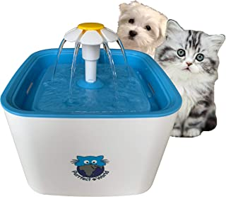 Purrfect World Cat and Dog Water Fountain w/Carbon - Ion Exchange Filter : 84 Oz / 2.5L Capacity : Provides Fresh Filtered Water for Your Pet