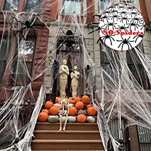 1000 sqft Spider Webs Halloween Decorations, Super Stretch Spider Web Cobwebs with 80 Plastic Fake Spiders Haunted House Yard Creepy Scene Props Indoor Outdoor Decor and Halloween Party Supplies (300g/10.58 oz)