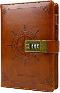 B6 Vintage Leather Lock Journal, Diary with Composition Lock, Notebook As Gift for Girl, Boy, Friend, 7.87 X 5.51 in (Black)