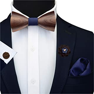 GUSLESON Brand New Floral Adjustable Wood Bow Tie and Pocket Square Cufflink Brooch Set with Gift Box