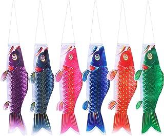 Cabilock 6Pcs Japanese Carp Windsock Fish Flag Kite Koinobori Windsock for Japanese Sushi Restaurant Izakaya Room Decorations