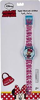 ساعة يد بمينا رقمية للبنات مزينة برسمة ميني من ديزني مزودة بضوء وامض مع سوار شفاف ولامع - طراز SA7215 Minnie B