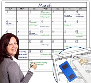 """Dry Erase Monthly Large White Board Wall Calendar, 38"""" x 50"""", Jumbo Laminated Erasable Month whiteboard, Huge 30 Day Planner"""