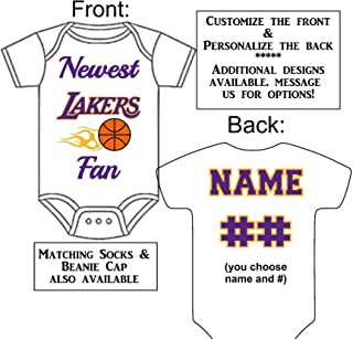 Personalized Custom Made Newest Lakers Fan Basketball Gerber Onesie Jersey - Baby Announcement Reveal or Shower Gift