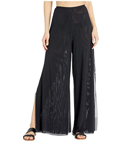 Carmen Marc Valvo Marche De Solids Double Layer Mesh Wide Leg Pants w/ Side Slits (Black) Women