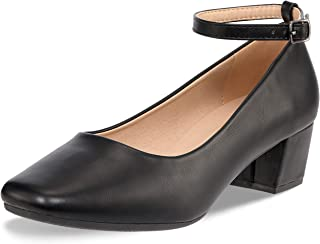 Low Heel Chunky Heels Dress Shoes for Women- Comfortable Ankle Strap Pumps Square Toe Ladies Mary Jane