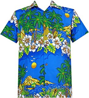 Hawaiian Shirt Mens Flower Leaf Beach Aloha Party Casual Holiday Short Sleeve