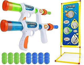 USA Toyz Astroshot Gemini Shooting Game - 2pk Foam Ball Popper Air Toy Guns and Standing Shooting Target, 2-Player Toy Guns for Kids with 24 Foam Balls