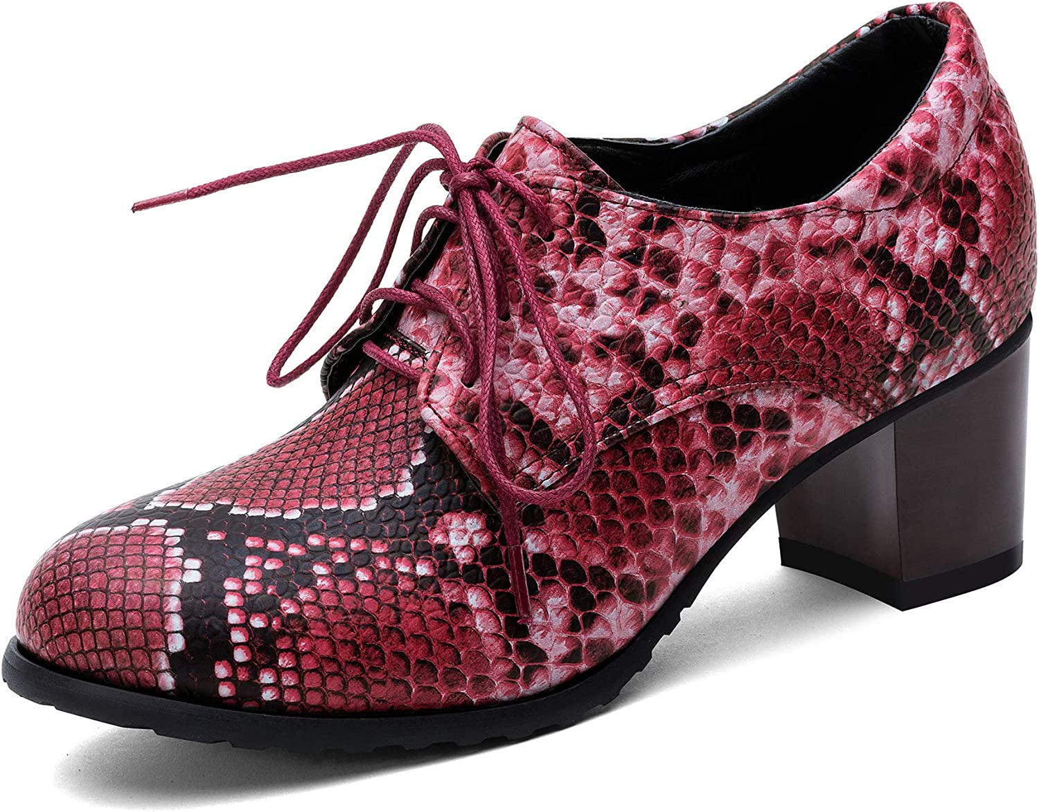 100FIXEO Women Excellent Fashion Snakeskin Oxford Block Brogues Shoes Max 73% OFF Mid