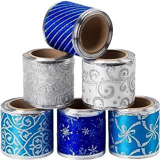 LaRibbons Wired Christmas Holiday Ribbon - 6 Rolls Swirl Sheer Glitter Ribbon - 2.5 inch x 5 Yard Each Roll - Blue/Silver