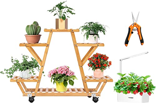 lowest VIVOSUN 6 Tier Bamboo Plant Stand Indoor Outdoor Wheeled Multi Layer Flower Pots Shelf 2021 with Gardening sale Hand Pruner Pruning Shear and Hydroponics Growing System outlet sale