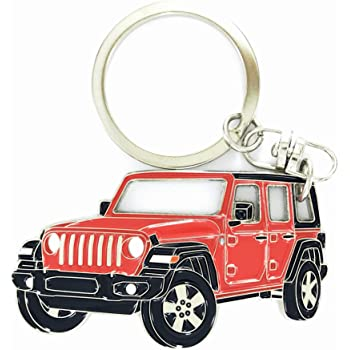 Official Licensed Jeep Wrangler Red Leather Car Key Chain INC Au-Tomotive Gold