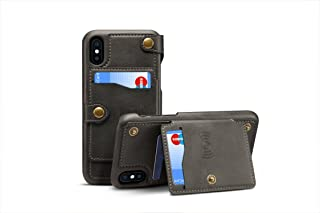 iPhone X Case Leather,TACOO Zipper Credit Card Business Card Holder Money Slot Slim Soft Fashion Removable Protective Wallet Black Phone Cover Shell for Apple iPhone 10 2017
