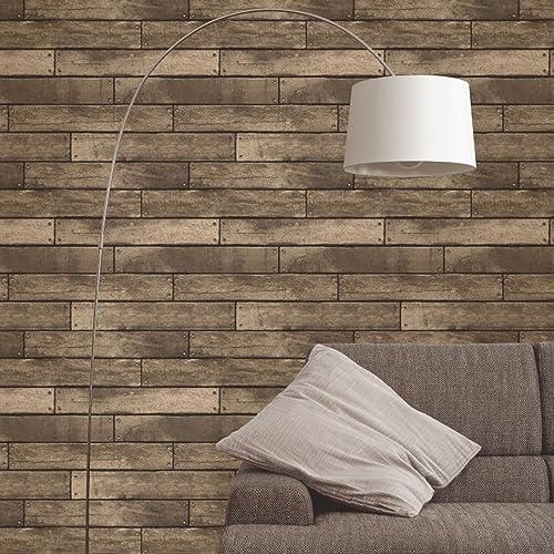Brewster Fd Wooden Plank Wallpaper Gold