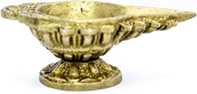 The Holy Mart Pure Brass Designer Arti Diya in Golden Colour and Small Size | Brass Akhand Oil diyas for Puja Room | Diya for Home puja Office | Oil lamp for Pooja (5 cm)